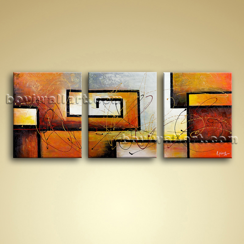 large 3 pc modern abstract canvas wall art giclee oil