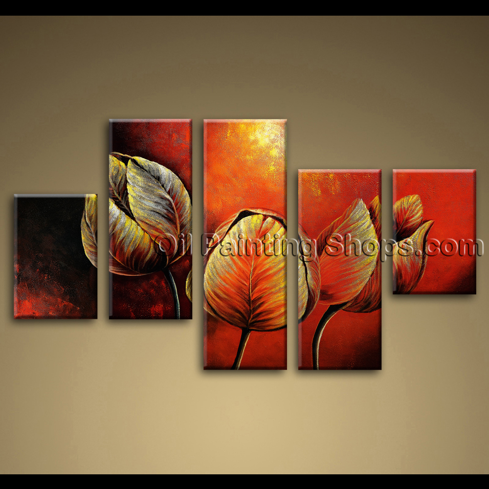 large canvas painting tulip flowers red abstract wall art framed contemporary. Black Bedroom Furniture Sets. Home Design Ideas
