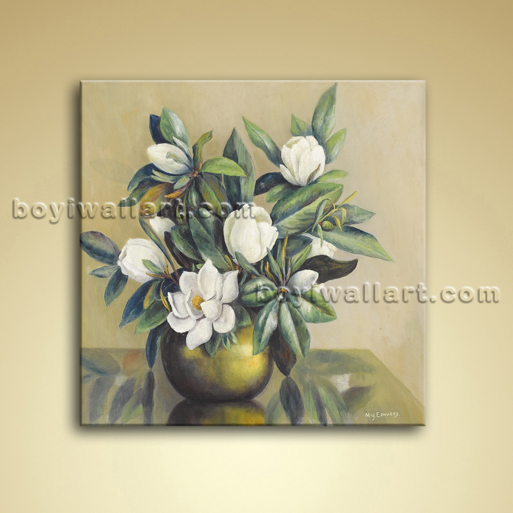 Wall art canvas flowers : Modern abstract floral painting bouquet flower oil on