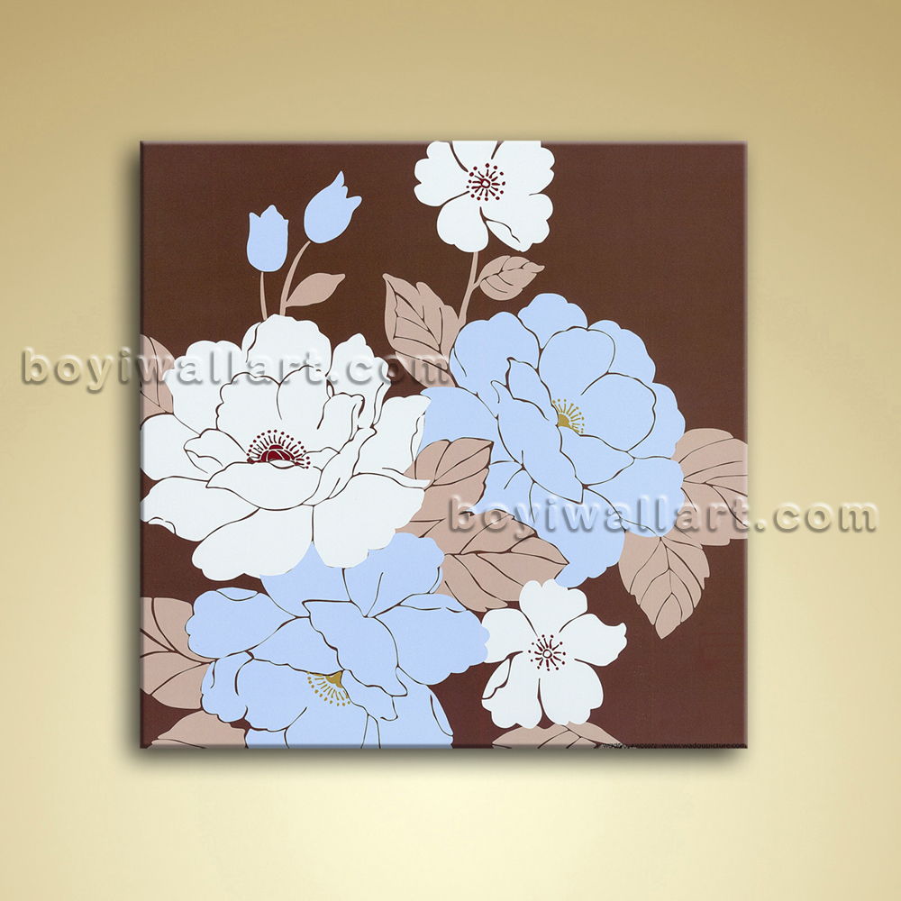 Modern abstract flower painting oil on canvas wall art for Paintings for bathroom decoration
