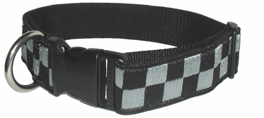 "Boston Leather 1-1/2"" K-9 Black & Subdued Grey Nylon Collar"