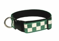 "Boston Leather 1-1/2"" K-9 Green & White Nylon Collar"