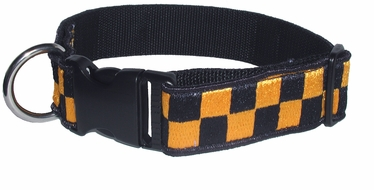 "Boston Leather 1-1/2"" K-9 Navy & Gold Nylon Collar"