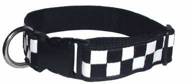 "Boston Leather 1-1/2"" K-9 Navy & White Nylon Collar"
