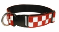 "Boston Leather 1-1/2"" K-9 Red & White Nylon Collar"