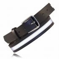 "Boston Leather 1-1/2"" Off-Duty Leather Belt w/ Reflective Ribbon"