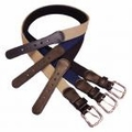 "Boston Leather 1-1/4"" Leather Tipped Cotton Web Belt"
