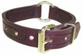 "Boston Leather 1"" Center Ring K-9 Leather Collar w/ Decorative Stitching"
