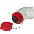 "6"" PVC MALE DRY HYDRANT ADAPTER W/ ALUMINUM CAP & ELBOW"