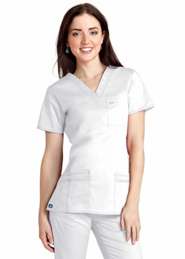 Adar Pop-Stretch Junior Fit Taskwear V-Neck Scrub Top