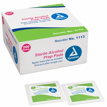 Alcohol Prep Pad, Med, Sterile - 10 boxes/200ct