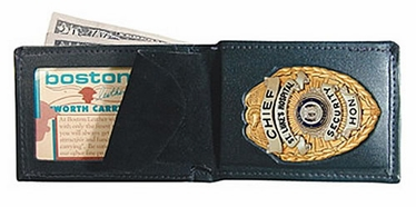 Boston Leather Billfold Style Badge Wallet