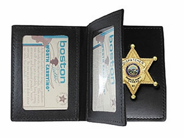 Boston Leather Book Style Badge Case With 2 ID Windows