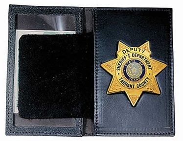 Boston Leather Book Style Badge Case with Oversized Window