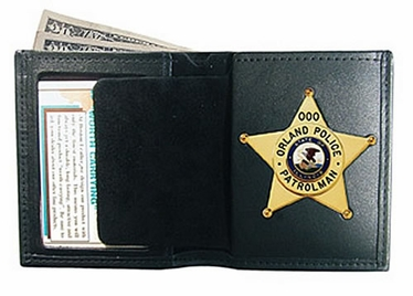 Boston Leather Book Style Badge Wallet