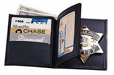 Boston Leather Book Style Badge Wallet with 3 Credit Card Slots