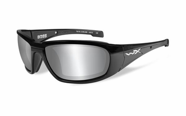 Wiley X BOSS Grey Silver Flash Lens/Gloss Black Frame