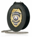 Boston Leather Deluxe Oval Badge Holder with Neck Chain and Pouch