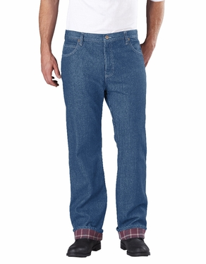 Dickie's Relaxed Straight Fit Flannel-Lined Denim Jean