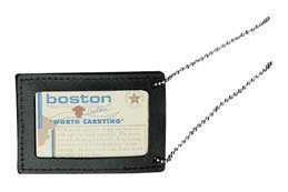 Boston Leather Double ID Neck Chain Holder