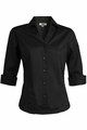 Edwards Garment V-Neck Tailored Stretch Broadcloth Blouse - ¾ Sleeve