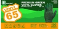 Emerald 65 Powdered Green Vinyl Gloves