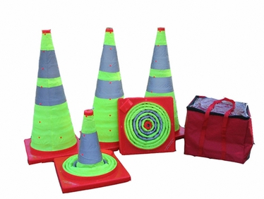 Ez-Stor Collapsible Road Cones in Lime