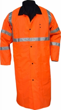 Knee Length Police Reversible Raincoat-Orange/Black