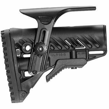 M4/AR-15 STOCK WITH ADJUSTABLE CHEEK RISER, BATTERY STORAGE & RUBBER BUTTPAD