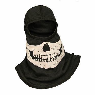 Majestic Apparel Fire Ink Glow In The Dark Blue Skull Hood