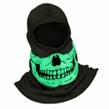 Majestic Apparel Fire Ink Glow In The Dark Green Skull Hood