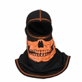 Majestic Apparel Fire Ink Hood - Orange Skull Hi Vis Orange Trim
