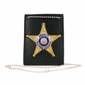 Boston Leather Neck Chain ID Holder with Recessed Badge Cutout