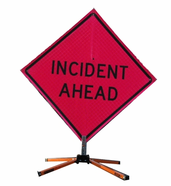 "Pink 48"" Incident Management Portable Road Sign"