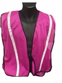 "Pink Safety Vest with 3/4"" Reflective Silver Striping"
