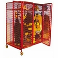 Red Rack Mobile Double Sided Gear Storage with 6 Openings