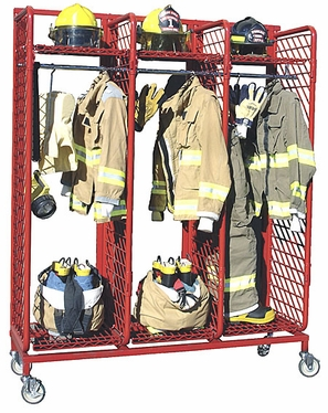 Red Rack Mobile Single Sided Storage with Three Openings