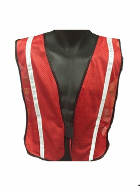 "Red Safety Vest with 3/4"" Reflective Silver Striping"