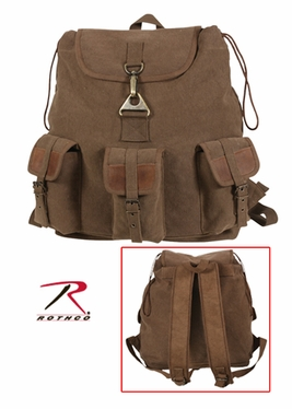 Rothco Brown Vintage Wayfarer Backpack w/Leather Accents