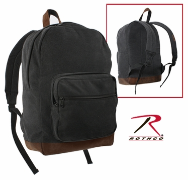 Rothco Canvas Teardrop Pack - Black with Leather Accents