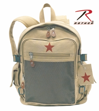 Rothco Deluxe Khaki Vintage Star Mesh Front Backpack