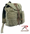 Rothco H.W. Olive Drab Stonewashed Backpack w/Leather Accents