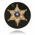 Boston Leather Round Holder w/ Recessed Badge Cutout, Swivel and Velcro Closure