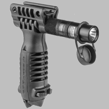 TACTICAL FOREGRIP WITH INTEGRATED ADJUSTABLE BIPOD AND INCORPORATED FLASHLIGHT
