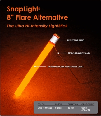 "The 30-minute 8"" Flare Alternative High Intensity Light Stick"