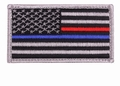 Thin Blue Red Line Police Firefighter USA Flag Patch Hook Back