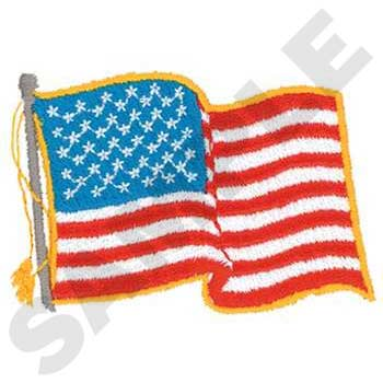 U. S. A. Waving  Flag Embroidery