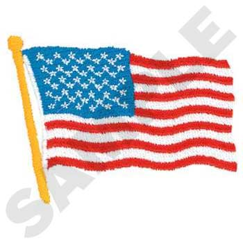 USA Flag Waving Embroidery
