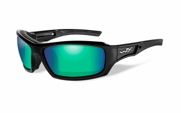 Wiley X ECHO Polarized Emerald Mirror (Amber)/Gloss Black