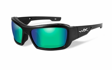 Wiley X Polarized Emerald Mirror (Amber)/Matte Black